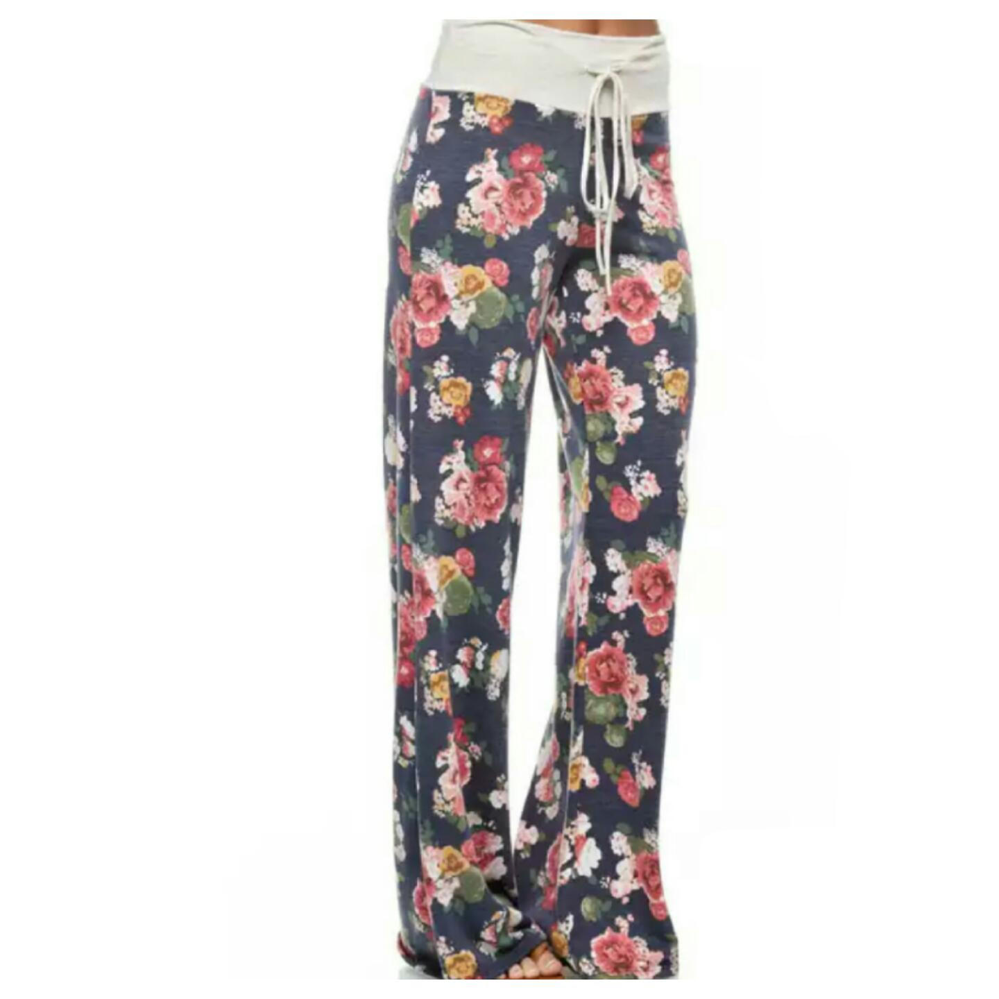 Navy Floral Lounge Pants Preorder from 512 Boutique