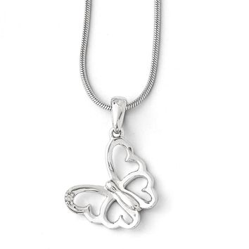 Diamond Butterfly Necklace in Rhodium Plated Silver, 18-20 Inch