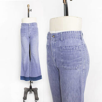 Vintage 1970s Jeans - SEAFARER Sailor Dungaree High waisted Bell Bottoms - Medium 29 x 33""
