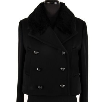 Alexander McQueen Cropped Wool and Fur Jacket