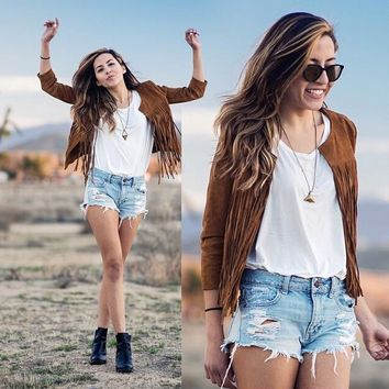 Brown Fringed Sleeve Cardigan