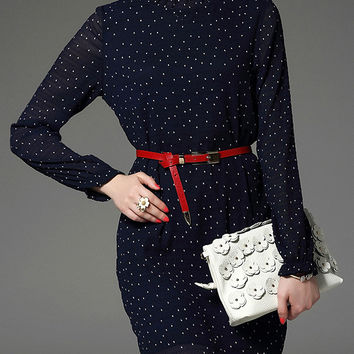 Navy Polka Dot Long Sleeve Belted A-Line Dress