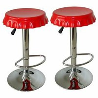 Bar Stools Red Bottle Cap Soda Seat Swivel Pub Counter Table 2 Kitchen Barstools
