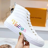 LV 2019 new high-top color letter LOGO women's shoes white