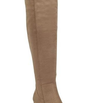 knee high chunky heel suede boot