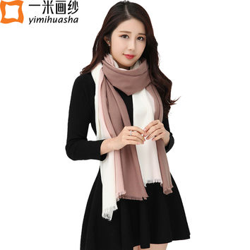 Luxury brand fashion ladies winter wool scarves gradient color warm pashmina button scarf shawl Poncho Cape oversized wrap