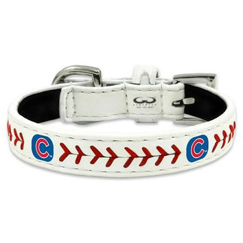 Chicago Cubs Classic Leather Toy Baseball Collar