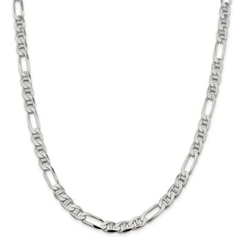 925 Sterling Silver 7.5mm Figaro Anchor Chain Necklace, Bracelet or Anklet