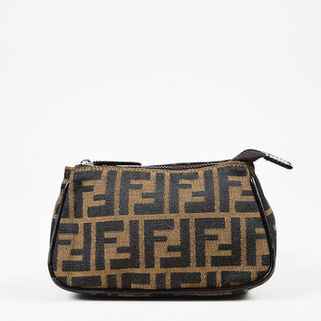Fendi Brown & Beige Canvas  Leather Trim Zucca Patterned Zipped Pouch,Classic handbags and purse gift