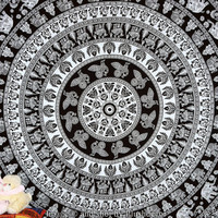 Black & White Indian Elephant Tapestry Indian Peacock Mandala Tapestries Camel Wall hanging Throw Hippy Bedspread Hippie Sofa Cover Bedsheet