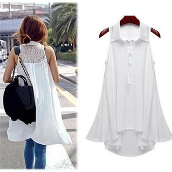 Openwork lace sleeveless chiffon shirt Maternity(Color:Black ,White,Size:L) = 1946146436