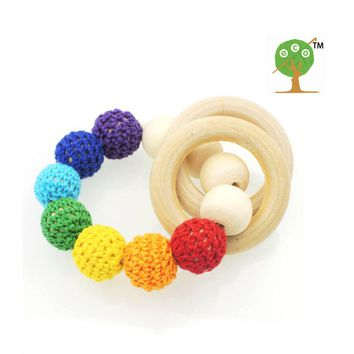 Discount Hot wooden toy Mommy jewelry baby Crochet nursing toy - teething crochet  Neo rainbow colour crochet bead ET41