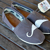 Grey Mustache TOMS by BStreetShoes on Etsy