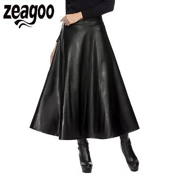 Zeagoo Autumn Winter Women Skirt Fashion PU Leather Solid Long Skirt High Waist Pleated Swing Vintage Maxi Skirt Saias XXL