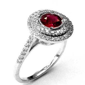 Halo ring Ruby ring Engagement ring Diamond ring Cathedral channel Double frame Pavé gold Jewelry