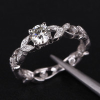 Round Forever Brilliant Moissanite Engagement Ring Diamond 14K White Gold 5.0mm  Art Deco Floral Shank