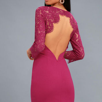 All the Stars Magenta Lace Backless Bodycon Dress