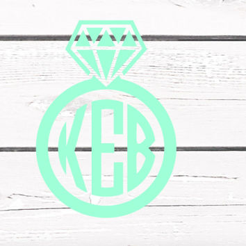 Solid Color Diamond Ring Monogrammed Vinyl Decal For Yeti Tumblers, Cars, and Tech Devices