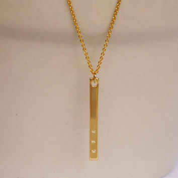 Gold Skinny Bar Necklace