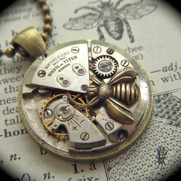 Steampunk Necklace Jewelry Tiny Bee Vintage Swiss by CosmicFirefly