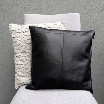 "Black leather pillow, Luxurious pillow case, Black decorative pillow, Pillow cushion, 16"", Gray cotton backside, Upcycled reused leather"