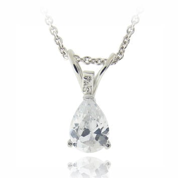 Silver Tone 3/4ct CZ Teardrop Solitaire Necklace, 7x5mm