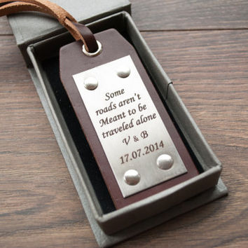 Personalized Leather Luggage Tags, Latitude Longitude Luggage Tags, State Map Luggage tag, - Leather Gift