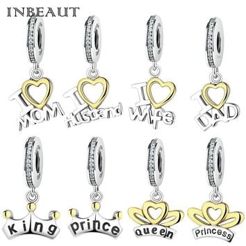 Cool INBEAUT Fashion 925 Sterling Silver Cute Family Dad Mom Pendant Beads King Queen Princess Letters Charm fit Pandora BraceletAT_93_12