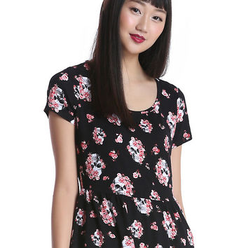 Black Floral Skull Girls Peplum Top