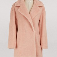 HARRIS WHARF LONDON - Virgin wool and faux fur short coat