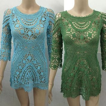 Pure Color Crocheting Hollow Out Lace Short Beach Cover Up Dress
