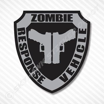 Zombie Response Vehicle Badge Sticker Label Vinyl Decal Walking Dead Sticker Gun Metal Car Decal Truck Decal Sticker Halloween Sticker