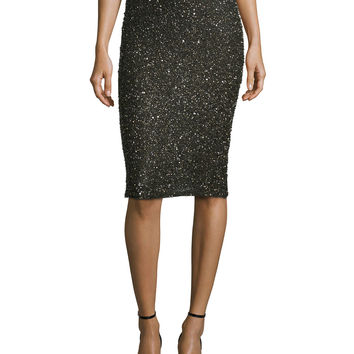 Ramos Shimmery Beaded Pencil Skirt, Size: