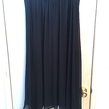 "Vintage 80's ""Options"" Black Fully Lined Chiffon A-Line Skirt w/ Fancy Woven Elastic Waistband, Vintage Cocktail Length Ladies Dress Wear"