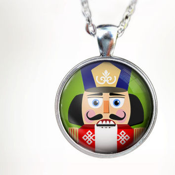 The Nutcracker : Glass Dome Necklace by HomeStudio. 24 inch chain included. Round art pendant jewelry. dance jewelry