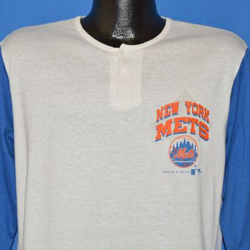 80s New York Mets MLB 3/4 Sleeve Henley t-shirt Large