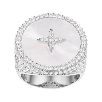 SLJELY Luxury Brand 925 Sterling Silver Cubic Zirconia Star Round Badge Ring with Mother of Pearl Women May Collection Jewelry