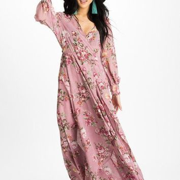 """Romance"" Wrap Maxi Dress - Mauve"