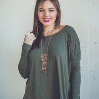 Long Sleeve Round Neck Piko Top in Olive