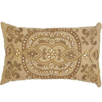 Medallion Beaded Pillow - Gold