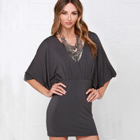 V-Neck Bat Sleeves Keyhole Back Hip Skirt Dress