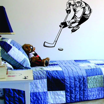 Hockey Player Version 3 Sports Design Decal Sticker Wall Vinyl Decor Art