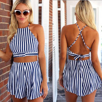 Blue Stripe Halter Crop Top and Shorts Set beach clothes