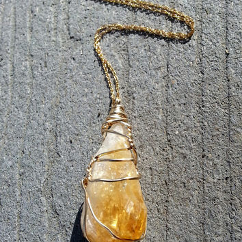 Boho Raw Citrine Pendant Necklace, 14K Gold Filled Wire Wrapped Gemstone, Amber Yellow Crystal Point Bohemian Necklace, Gold Filled Chain