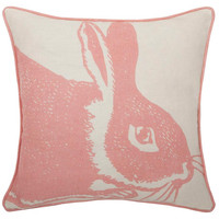 Rose Bunny Linen Pillow