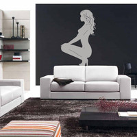Wall Vinyl Sticker Decals Decor Art Bedroom Design Mural Sexy Girl Sitting Sofa (z034)
