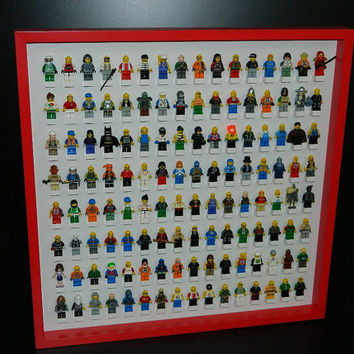 LEGO minifigure handmade display case with RED FRAME