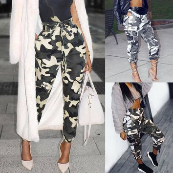 Womens Casual Long Pants Camo Cargo Joggers Trousers Hip Hop Rock Trousers Jeans