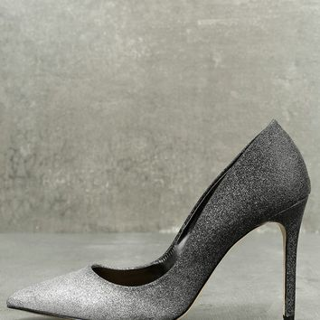 Kyle Silver and Black Glitter Pumps