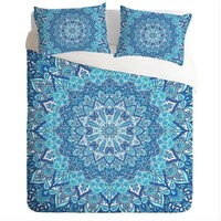 FANAIJIA bohemian blue bedding sets boho printed 3d Mandala 3pcs duvet cover with Pillowcase single double AU size